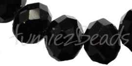 02396 Imitatie swarovski streng (±20cm) Zwart 12mmx16mm 1 streng