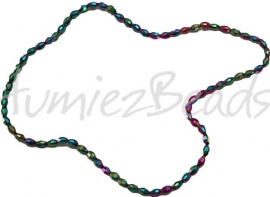 03193 Glaskraal electroplate facet ovaal streng ± 40cm AB color 6mmx4mm 1 streng