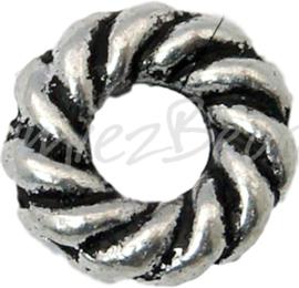 03065 Gesloten ring donut Antiek zilver (Nickel vrij) 8mmx2mm; gat 3mm ±15 stuks