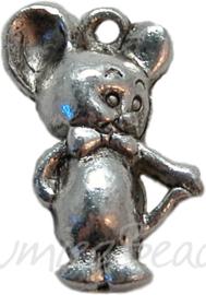 00444 Bedel muis Antiek zilver (Nikkelvrij)