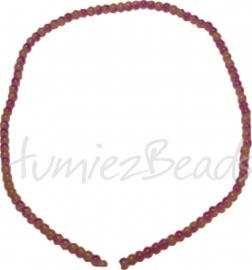 03455 Glaskraal streng ±40cm Jelly Roze-geel 4mm 1 streng