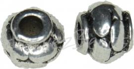 02160 Metalenkraal pompoen Antiek zilver (Nikkelvrij) 6mmx5mm 11 stuks