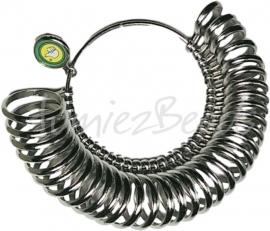 G-0017 Ringenbos voor ringmaat (33ringen aan een bos) Metaalkleurig 12,5mm tot 23,8mm