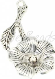 03083 Hanger bloem Antiek zilver (Nickel vrij) 39mmx30mmx4mm