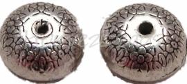 00410 Metaalkraal bloemetjes Antiek zilver (Nikkelvrij) 3 stuks