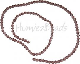 03992 Glaskraal imitatie swarovski Bicone streng ±40cm dark purple 4mm  1 streng