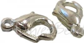 00483 Lobsterslotje Metaalkleurig (Nikkelvrij) 12mm 11 stuks