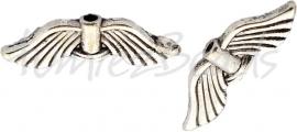 01525  Spacer vleugel  Antiek zilver (Nickel vrij)  7mmx21mmx3mm; gat 1,5mm