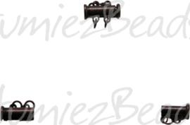 00121 Magneetschuifslot 2-rings Antiek koper 15mmx7mm 1 stuks