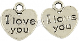 03845 Bedel hart I love you Antiek zilver (Nickel vrij) 12mmx11mm