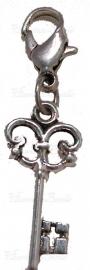 01995 Metallook bedel sleutel aan slotje Antiek zilver 30mmx11mm