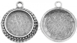 02641 Hanger cabochon setting Antiek zilver (Nikkelvrij) 23,5mmx20mmx3,5mm; binnenzijde 14mm 1 stuks
