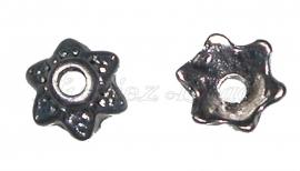 00430 Kralenkap 6-puntig Antiek zilver (Nikkel vrij) 7mmx2mm 20 stuks