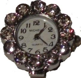01888 Horloge bling Metaalkleurig/Chrystal  1 stuks
