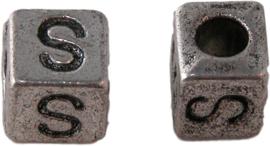 01171 Vierkante letterkraal S Antiek zilver