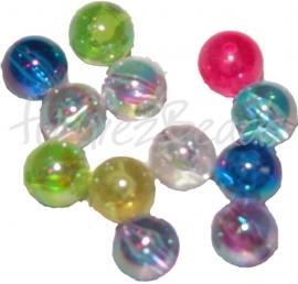 01585 Acryl perle Transparent Mix color AB 12mm; loch 2mm 10gramm