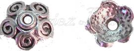00784 Kralenkap Kralenkap krul Antiek zilver (nikkelvrij) 3mmx10mm 11 stuks