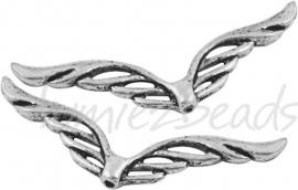 00865  Spacer vleugel  Antiek zilver (Nikkel vrij)  41mmx12mm 5 stuks