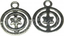 02250 Hanger rond met sterretje Antiek zilver   3 stuks