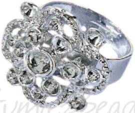 04235 Ring (verstelbaar) bloem voor strass Metaalkleurig (Nikkelvrij) 22mmx20mm; Ø 18mm 1 stuks