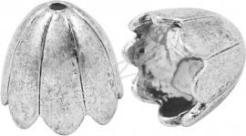 01777 Eindkap vikinghelm Antiek zilver (Nickel vrij) 15mmx17mm