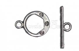 01126 Kapittelslot tripple Antiek zilver (Nikkelvrij) 6 stuks