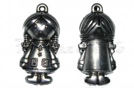 00667 Metallook hanger meisje Antiek zilver 53mmx23mmx19mm 1 stuks