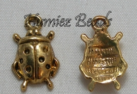 02883 Bedel lieveheersbeestje Antiek goud 17mmx11mmx4mm