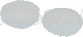 00286 Tsjechische glaskraal Melkwit 6mmx8mm; gat 1mm van links naar rechts 15 stuks