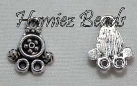 02300 Verdeler 1-2 bloem Antiek zilver (nickel vrij) 15mmx12mm 11 stuks