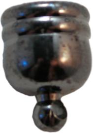 02535 Eindkapje met oog Zwart (Nikkelvrij) 14mmx10mm; gat 9mm 3 stuks