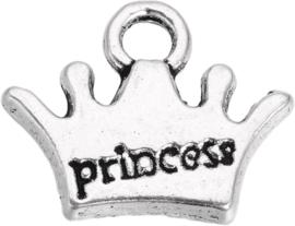 04431 Bedel Kroon Prinses Antiek zilver (Nikkelvrij) 10,5mmx13mmx2mm; Gat 2mm 11 stuks