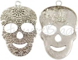 02226 Hanger schedel Antiek zilver (Nikkelvrij) 49mmx31mmx5mm 1 stuks