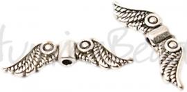 02579 Spacer vleugel Antiek zilver (Nikkelvrij) 23mmx7mm; gat 1,5mm 7 stuks