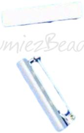 02557 Brochespeld met plakstrip Metaalkleurig (Nikkelvrij) 40x10mmx8mm 4 stuks