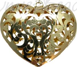 00504 Hanger hart filigraan Goudkleurig 40mmx39mmx4mm
