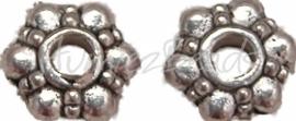 01233 Spacer daisy Antiek zilver (Nikkelvrij) 15 stuks
