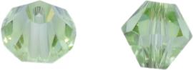 01775 Glaskraal Imitatie Swarovski 5301 bicone Peridot 8mm 6 stuks