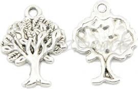 00581 Bedel tree of life Antiek zilver (Nikkel vrij) 21mmx17mm 6 stuks
