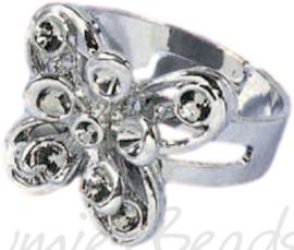 04232 Ring (verstelbaar) vlinder voor strass Metaalkleurig (Nikkelvrij) 20mmx20mm; Ø 18mm 1 stuks