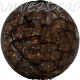 00523 Acryl kraal crackle Bruin 25mm 3 stuks
