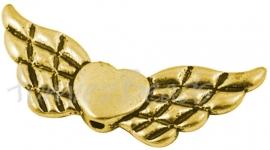 01978  Spacer vleugel  Antiek goud (Nickel vrij)  18mmx41mmx4mm; gat 2mm