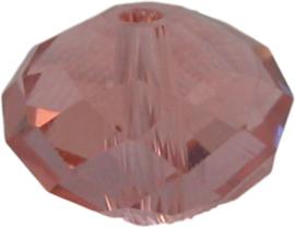 01659 Glaskraal Imitatie Swarovski 5040 briolette Roze 8mmx10mm 6 stuks