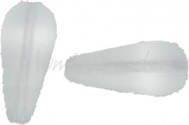 00573 Tsjechische glaskraal Melktransparant 20mmx9mm-4mm; gat 1mm van boven naar beneden 3 stuks
