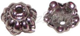 02896 Kralenkap druppel Antiek zilver (Nickel vrij) 5mmx9mm 11 stuks