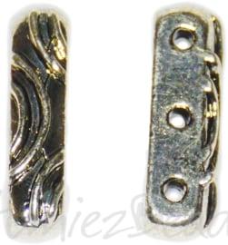02814 Tussenzetsel 3-gaats Antiek zilver 16mmx5mm; gat 1,5mm 6 stuks