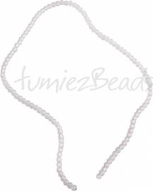 03578 Glaskraal streng (±40cm) frosted Wit 4mm 1 streng