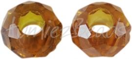 00868 Glaskraal imitatie swarovski Middel coffee 14mmx8mm; gat 5mm 3 stuks