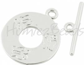 00479 Kapittelslot glad rond vlinder Zilverkleurig (Nickel vrij) 25mmx30mm 1 stuks