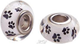 04044 Pandora-stijl kraal glas hondenpoot Wit/metaalkleurig 14x8mm; gat 5mm 1 stuks